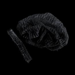 Одноразова шапочка Чорний колір на подвійний гумці 100 шт.